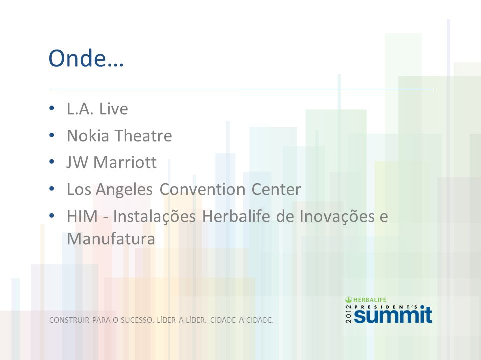 Onde… L.A. Live Nokia Theatre JW Marriott Los Angeles Convention Center HIM - Instalações Herbalife de Inovações e Manufatura CONSTRUIR PARA O SUCESSO