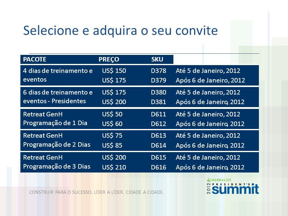 Selecione e adquira o seu convite PACOTE PREÇO SKU 4 dias de treinamento e eventos US$ 150 US$ 175 D378 D379 Até 5 de Janeiro, 2012 Após 6 de Janeiro,