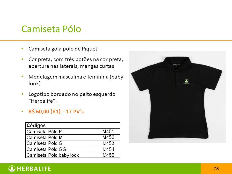 75 Camiseta Pólo Camiseta gola pólo de Piquet Cor preta, com três botões na cor preta, abertura nas laterais, mangas curtas Modelagem masculina e femi