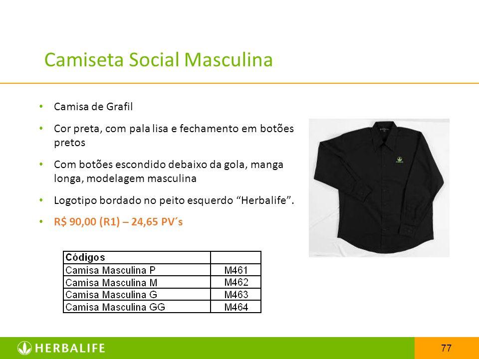 77 Camiseta Social Masculina Camisa de Grafil Cor preta, com pala lisa e fechamento em botões pretos Com botões escondido debaixo da gola, manga longa