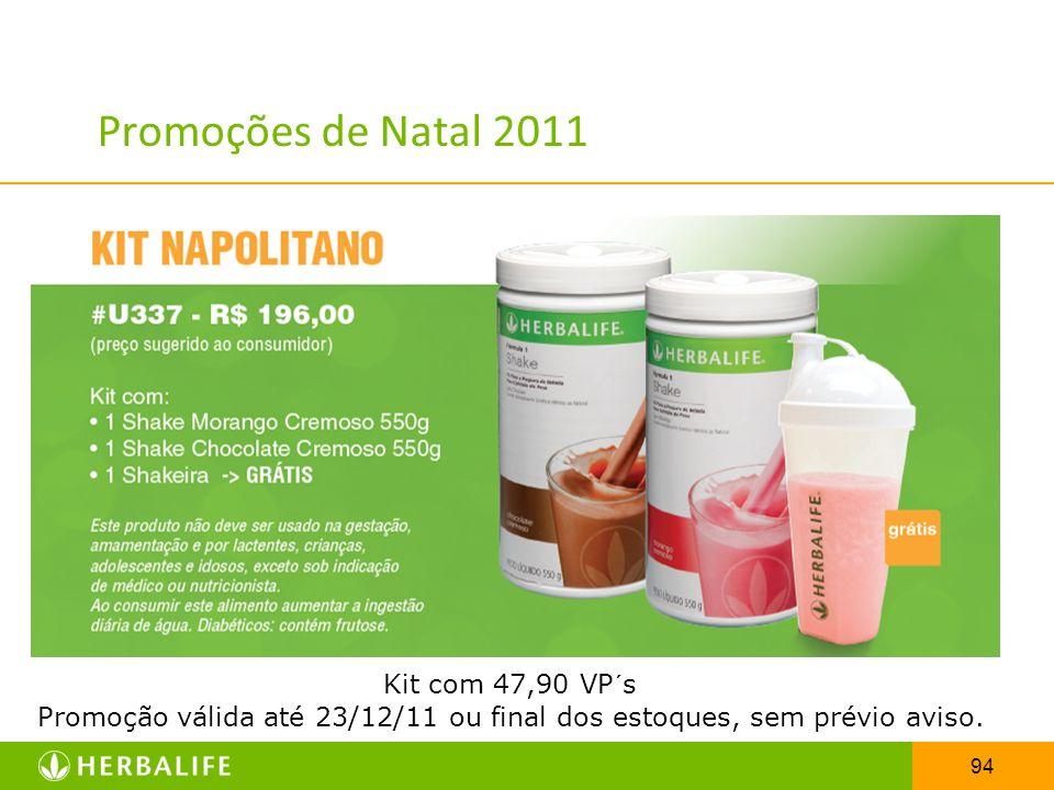 94 Promoções de Natal 2011 Kit com 47,90 VP´s Promoção válida até 23/12/11 ou final dos estoques, sem prévio aviso.