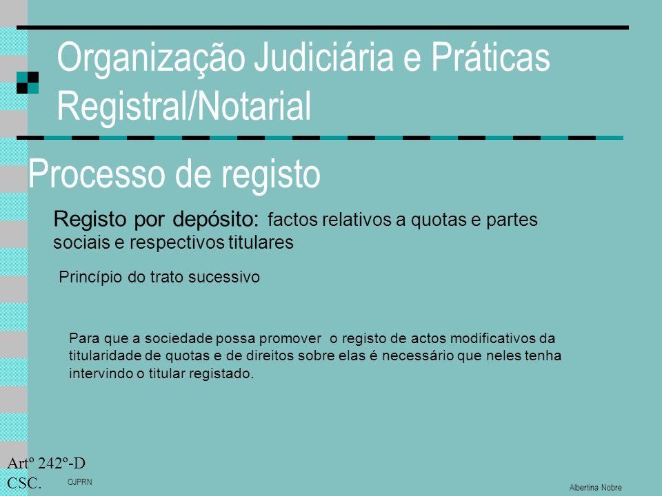Albertina Nobre OJPRN Organização Judiciária e Práticas Registral/Notarial Processo de registo Registo por depósito: factos relativos a quotas e partes sociais e respectivos titulares Princípio do trato sucessivo Artº 242º-D CSC.