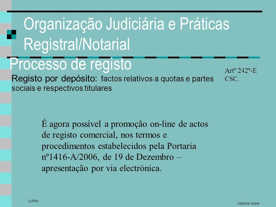 Albertina Nobre OJPRN Organização Judiciária e Práticas Registral/Notarial Processo de registo Registo por depósito: factos relativos a quotas e partes sociais e respectivos titulares Artº 242º-E CSC.