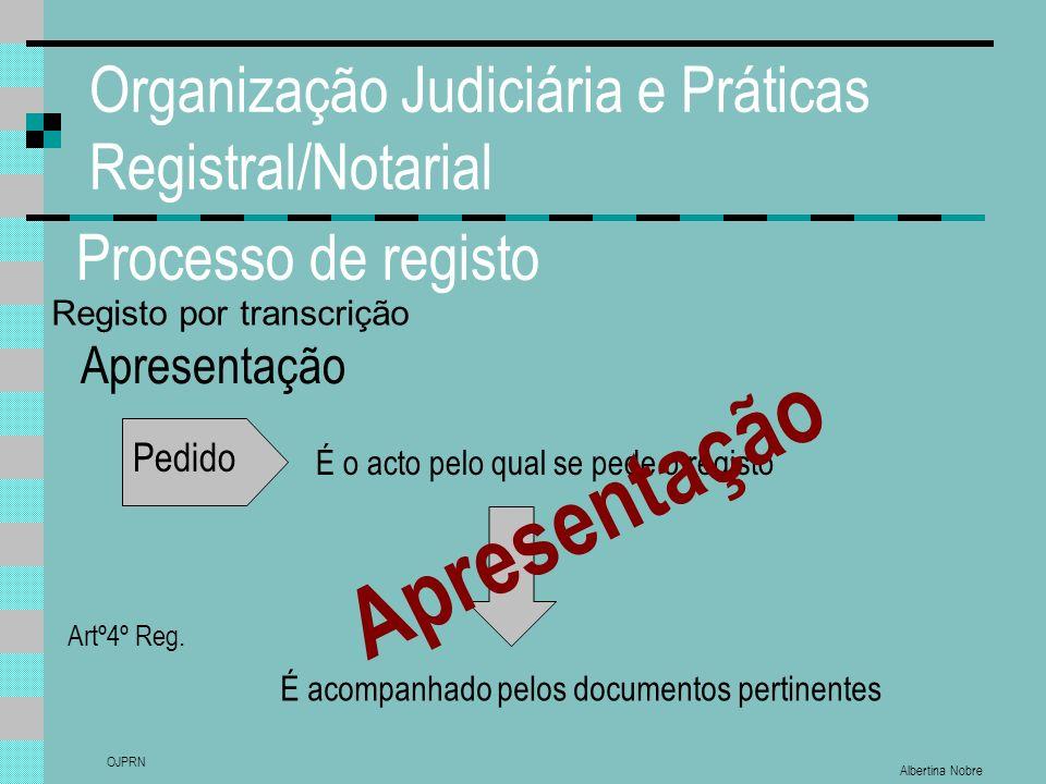 Albertina Nobre OJPRN Organização Judiciária e Práticas Registral/Notarial Processo de registo Apresentação Pedido É o acto pelo qual se pede o registo Artº4º Reg.