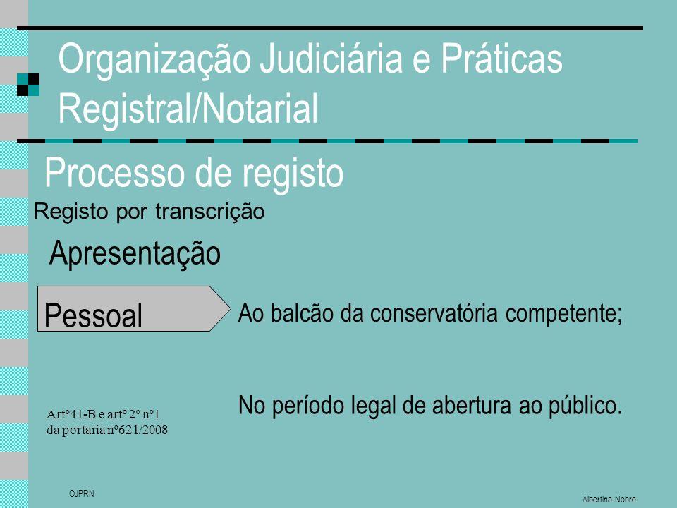 Albertina Nobre OJPRN Organização Judiciária e Práticas Registral/Notarial Processo de registo Apresentação Pessoal Ao balcão da conservatória competente; No período legal de abertura ao público.
