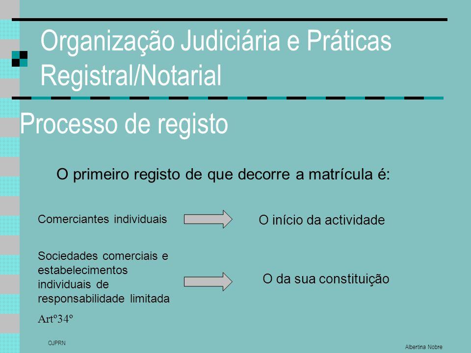 Albertina Nobre OJPRN Organização Judiciária e Práticas Registral/Notarial Processo de registo O primeiro registo de que decorre a matrícula é: Artº34