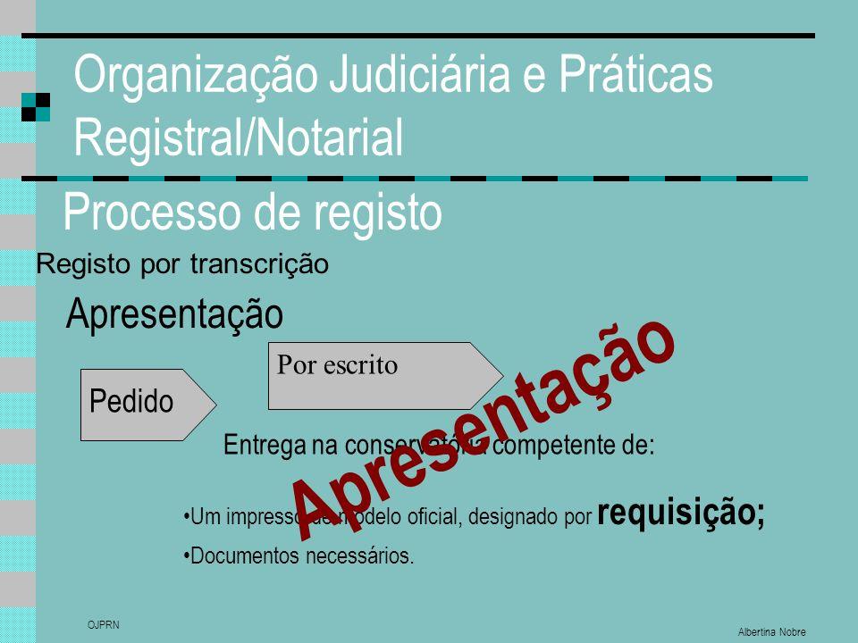 Albertina Nobre OJPRN Organização Judiciária e Práticas Registral/Notarial Processo de registo Apresentação Pedido Entrega na conservatória competente de: Um impresso de modelo oficial, designado por requisição; Documentos necessários.