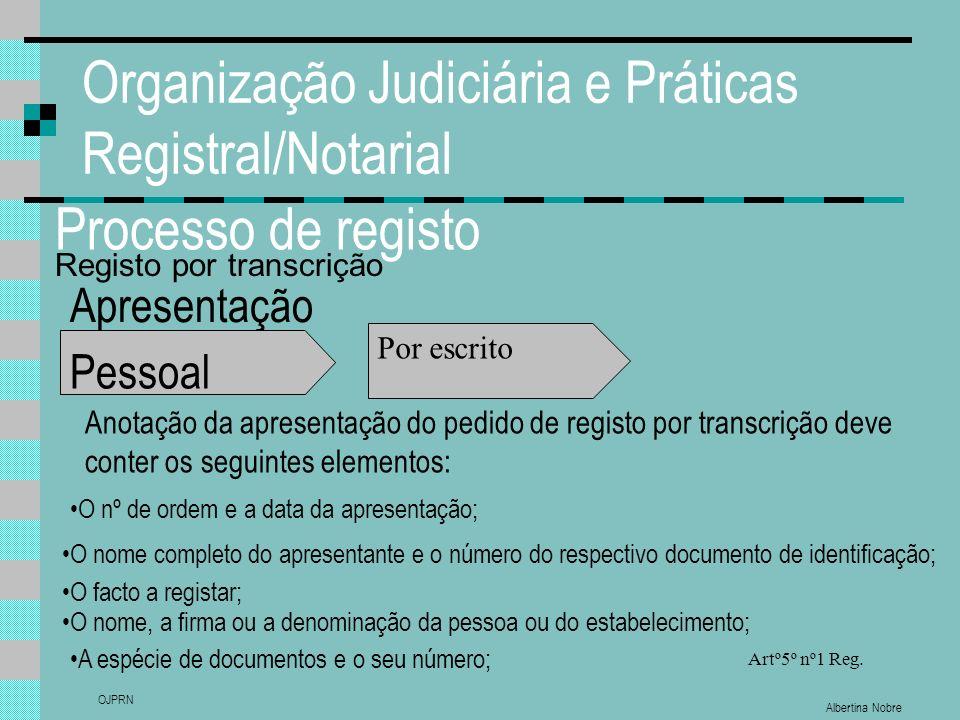 Albertina Nobre OJPRN Organização Judiciária e Práticas Registral/Notarial Processo de registo Apresentação Pessoal A espécie de documentos e o seu nú