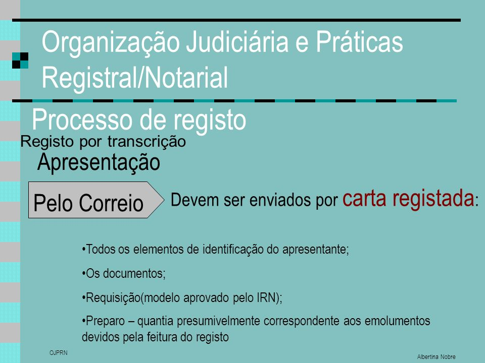 Albertina Nobre OJPRN Organização Judiciária e Práticas Registral/Notarial Processo de registo Apresentação Pelo Correio Devem ser enviados por carta