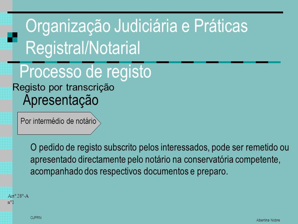 Albertina Nobre OJPRN Organização Judiciária e Práticas Registral/Notarial Processo de registo Apresentação Por intermédio de notário O pedido de regi