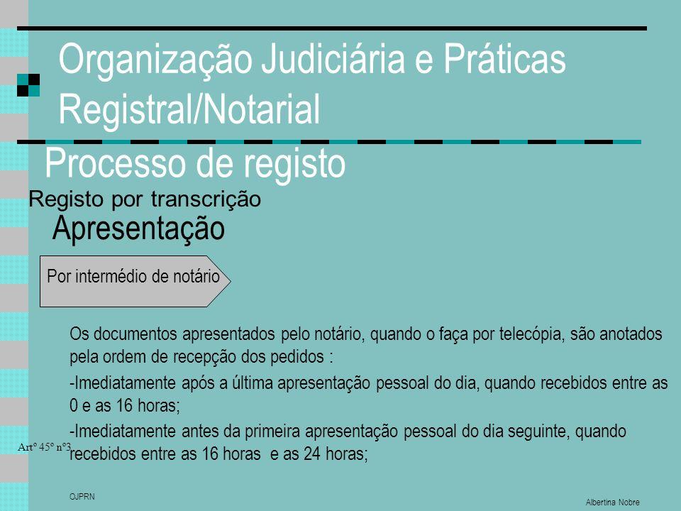 Albertina Nobre OJPRN Organização Judiciária e Práticas Registral/Notarial Processo de registo Apresentação Por intermédio de notário Os documentos ap