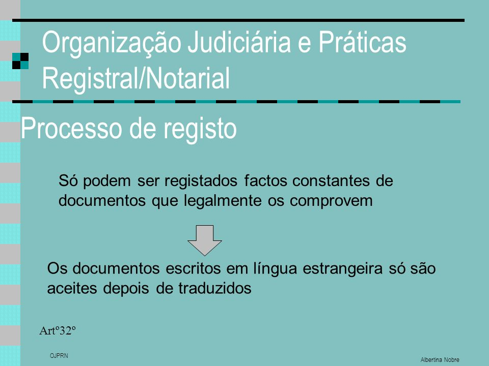 Albertina Nobre OJPRN Organização Judiciária e Práticas Registral/Notarial Processo de registo Só podem ser registados factos constantes de documentos