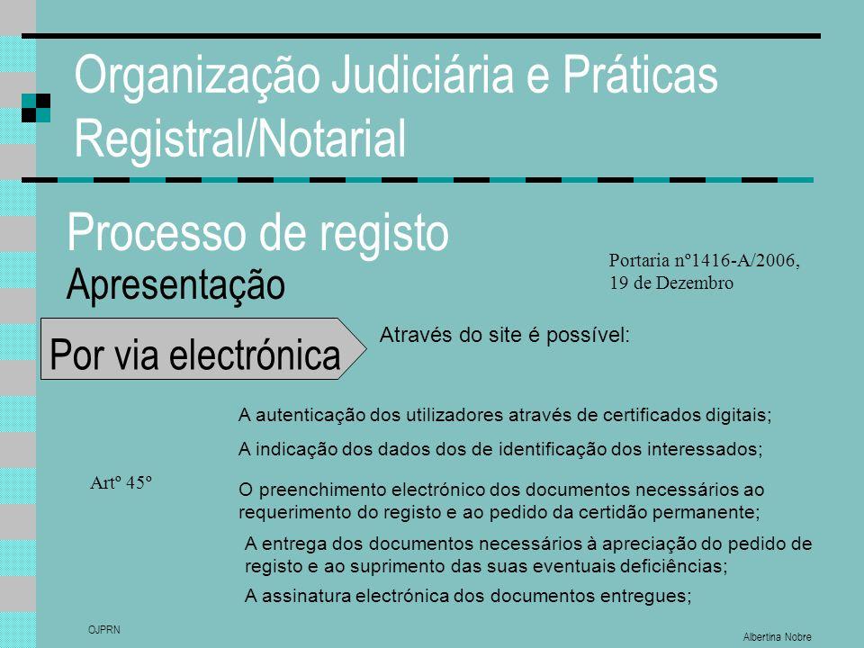 Albertina Nobre OJPRN Organização Judiciária e Práticas Registral/Notarial Processo de registo Apresentação Por via electrónica Através do site é poss