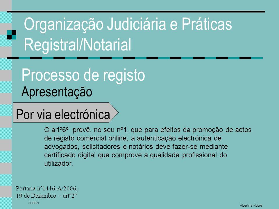 Albertina Nobre OJPRN Organização Judiciária e Práticas Registral/Notarial Processo de registo Apresentação Por via electrónica O artº6º prevê, no seu