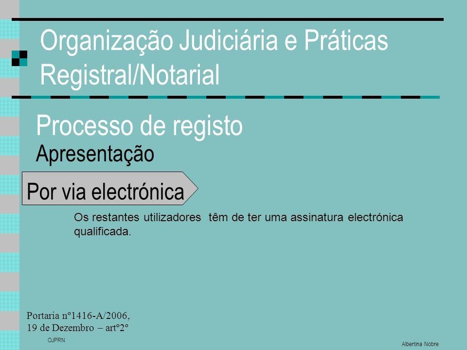 Albertina Nobre OJPRN Organização Judiciária e Práticas Registral/Notarial Processo de registo Apresentação Por via electrónica Os restantes utilizadores têm de ter uma assinatura electrónica qualificada.