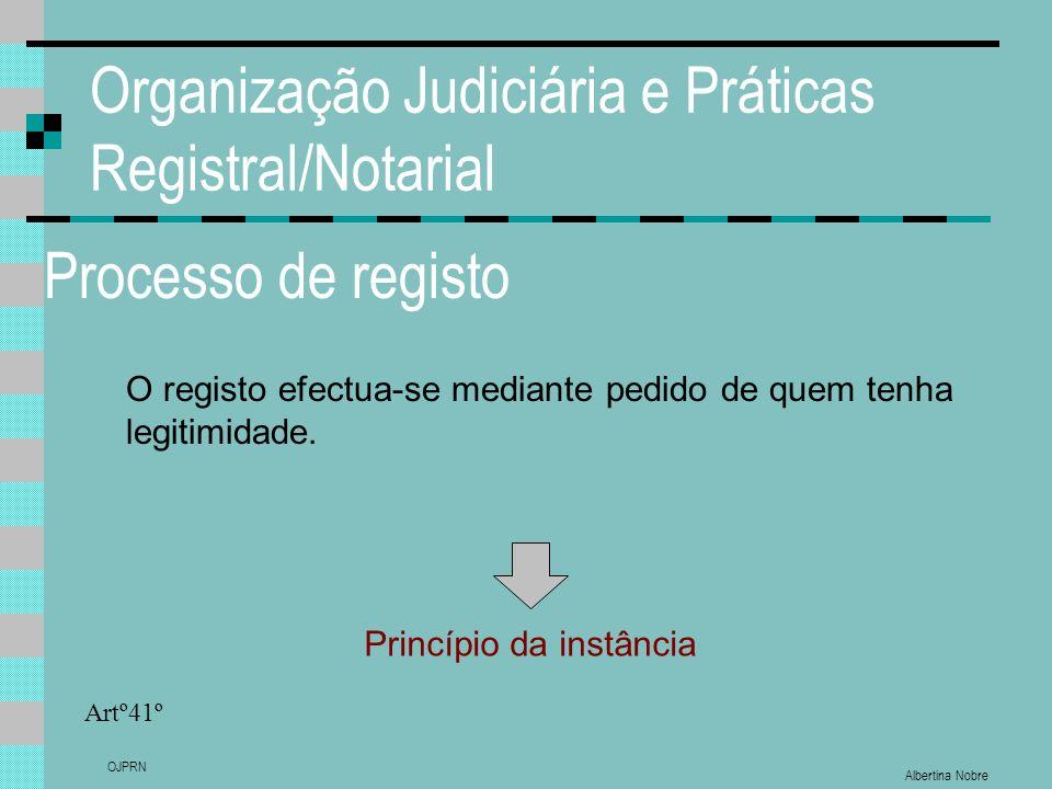 Albertina Nobre OJPRN Organização Judiciária e Práticas Registral/Notarial Processo de registo O registo efectua-se mediante pedido de quem tenha legitimidade.