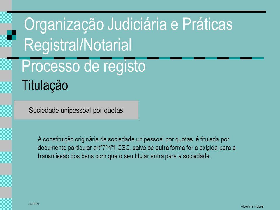 Albertina Nobre OJPRN Organização Judiciária e Práticas Registral/Notarial Processo de registo Titulação Sociedade unipessoal por quotas A constituiçã