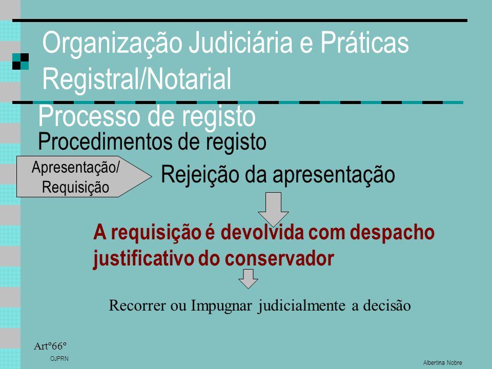 Albertina Nobre OJPRN Organização Judiciária e Práticas Registral/Notarial Processo de registo Procedimentos de registo Artº66º Rejeição da apresentaç