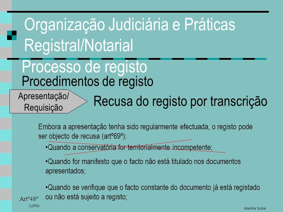 Albertina Nobre OJPRN Organização Judiciária e Práticas Registral/Notarial Processo de registo Procedimentos de registo Artº48º Recusa do registo por