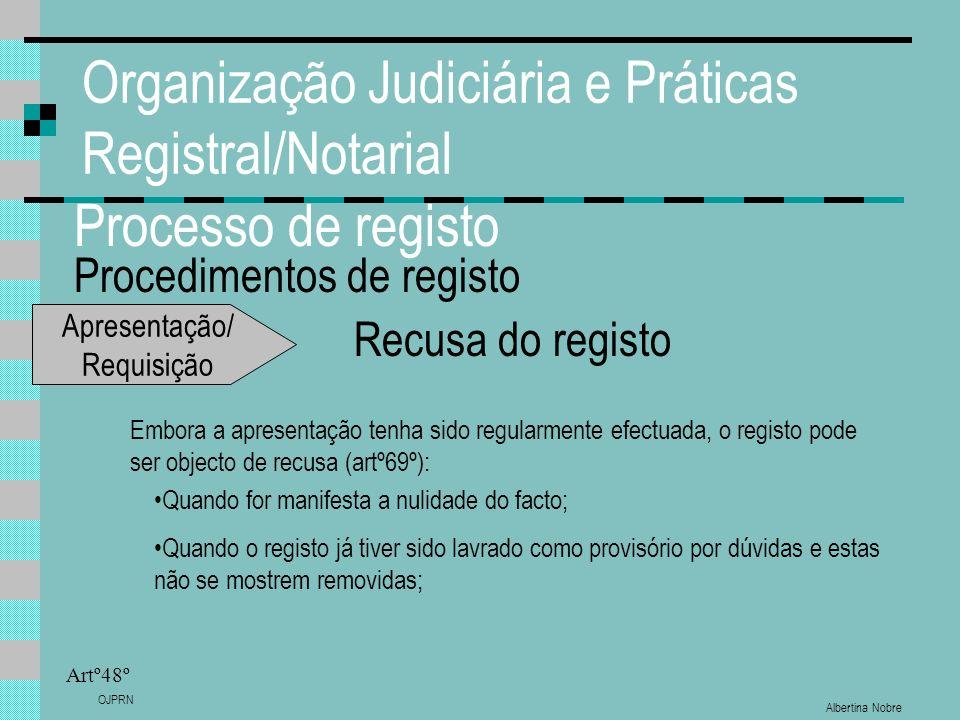 Albertina Nobre OJPRN Organização Judiciária e Práticas Registral/Notarial Processo de registo Procedimentos de registo Artº48º Recusa do registo Embo