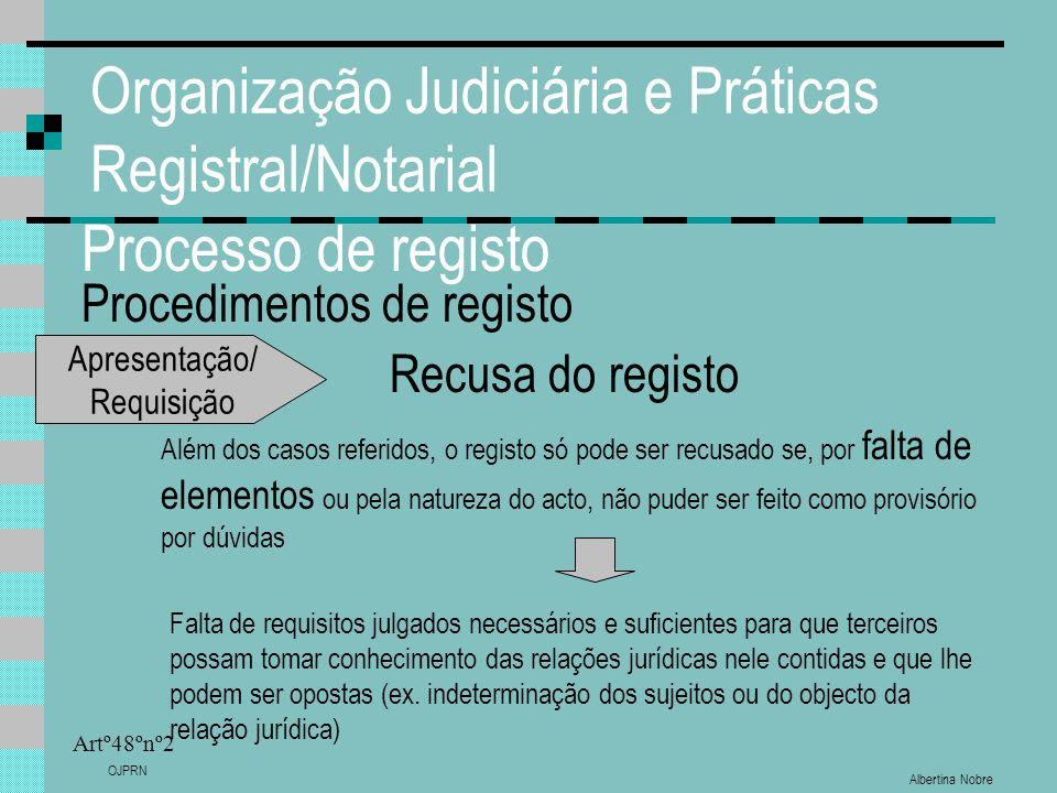 Albertina Nobre OJPRN Organização Judiciária e Práticas Registral/Notarial Processo de registo Procedimentos de registo Artº48ºnº2 Recusa do registo A
