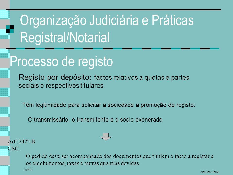 Albertina Nobre OJPRN Organização Judiciária e Práticas Registral/Notarial Processo de registo Registo por depósito: factos relativos a quotas e parte