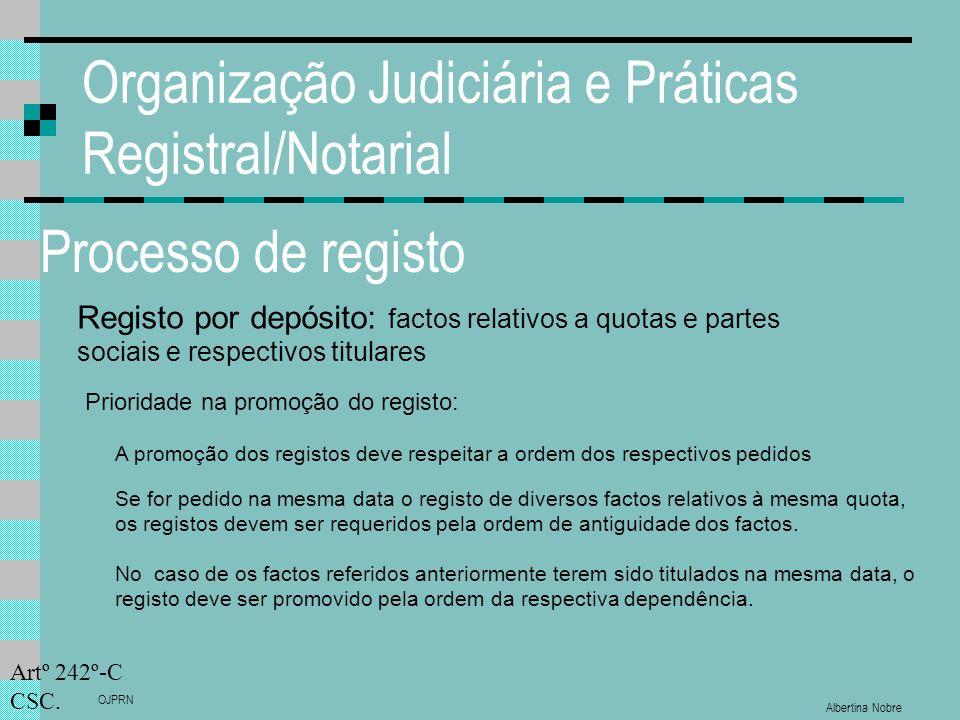 Albertina Nobre OJPRN Organização Judiciária e Práticas Registral/Notarial Processo de registo Registo por depósito: factos relativos a quotas e partes sociais e respectivos titulares Prioridade na promoção do registo: Artº 242º-C CSC.