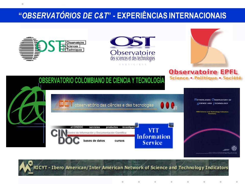 TIPOLOGIA DE OC&T 1) Modelo tipo consórcio / estrutura mista OST - França ; OCYT - Colômbia 2) Tutela absoluta do Ministério de C&T ou vinculado à Presidência OCT - Portugal 3) Estrutura universitária OST - Canadá ; OST - Holanda ; Obs EPFL– Suíça 4) Núcleos no interior de institutos ou Conselhos de C&T CINDOC – Espanha ; VTT - Finlândia 5) Redes – cooperação multilateral RICYT