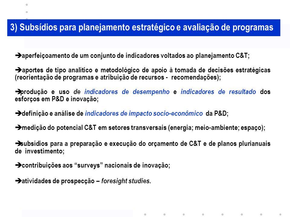 3) Subsídios para planejamento estratégico e avaliação de programas aperfeiçoamento de um conjunto de indicadores voltados ao planejamento C&T; aportes de tipo analítico e metodológico de apoio à tomada de decisões estratégicas (reorientação de programas e atribuição de recursos - recomendações); produção e uso de indicadores de desempenho e indicadores de resultado dos esforços em P&D e inovação; definição e análise de indicadores de impacto socio-econômico da P&D; medição do potencial C&T em setores transversais (energia; meio-ambiente; espaço); subsídios para a preparação e execução do orçamento de C&T e de planos plurianuais de investimento; contribuições aos surveys nacionais de inovação; atividades de prospecção – foresight studies.