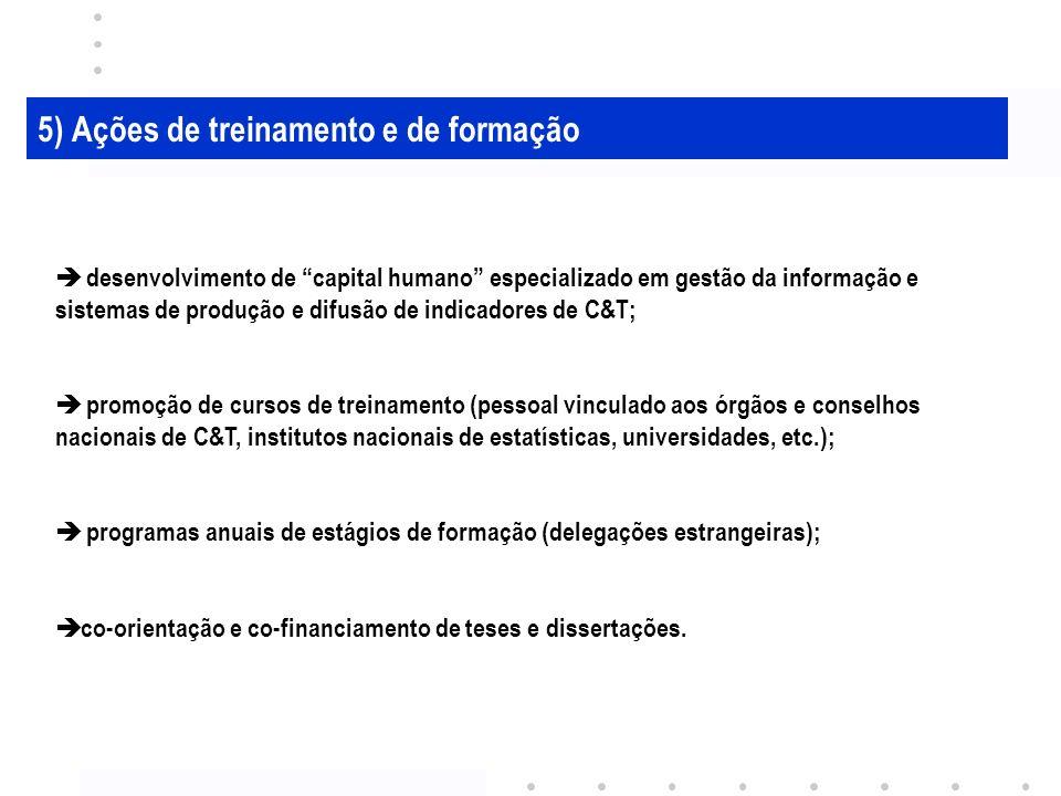 5) Ações de treinamento e de formação desenvolvimento de capital humano especializado em gestão da informação e sistemas de produção e difusão de indicadores de C&T; promoção de cursos de treinamento (pessoal vinculado aos órgãos e conselhos nacionais de C&T, institutos nacionais de estatísticas, universidades, etc.); programas anuais de estágios de formação (delegações estrangeiras); co-orientação e co-financiamento de teses e dissertações.