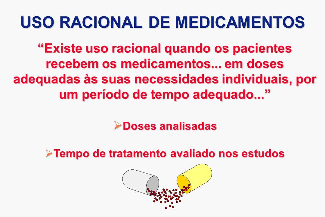 Existe uso racional quando os pacientes recebem os medicamentos... em doses adequadas às suas necessidades individuais, por um período de tempo adequa