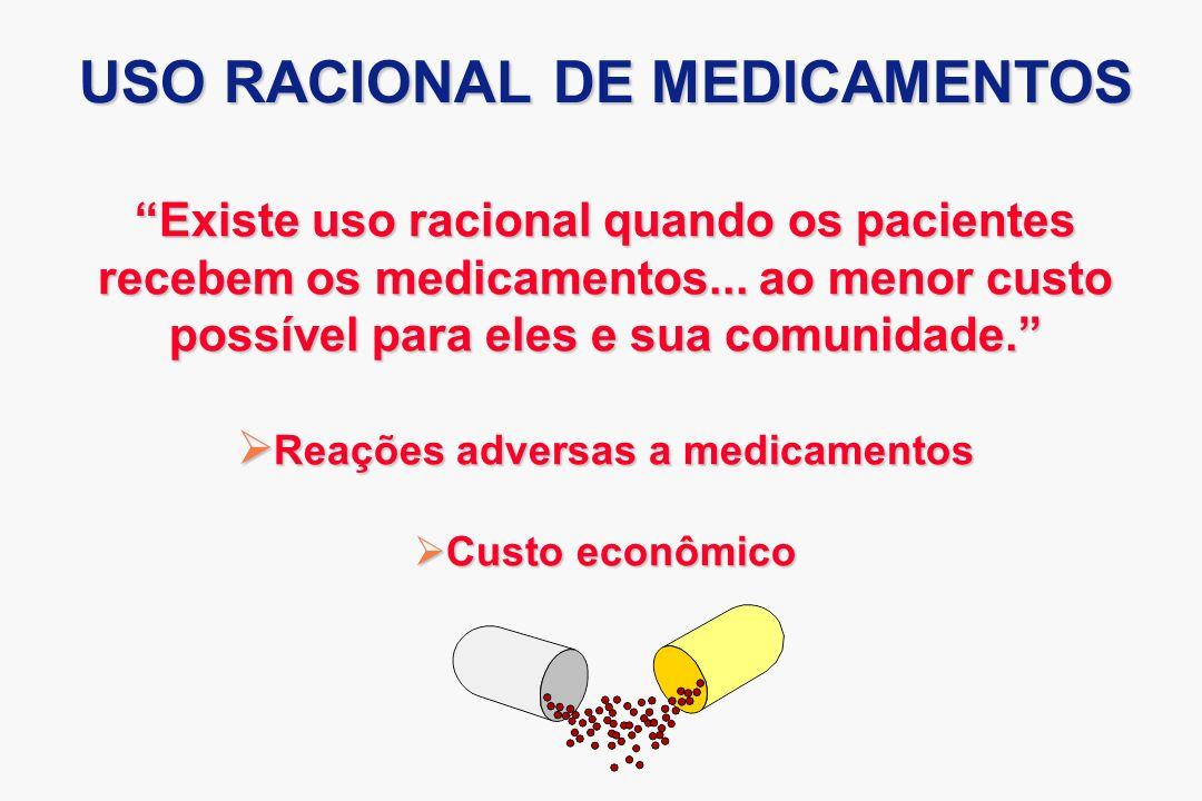 Existe uso racional quando os pacientes recebem os medicamentos... ao menor custo possível para eles e sua comunidade. Reações adversas a medicamentos