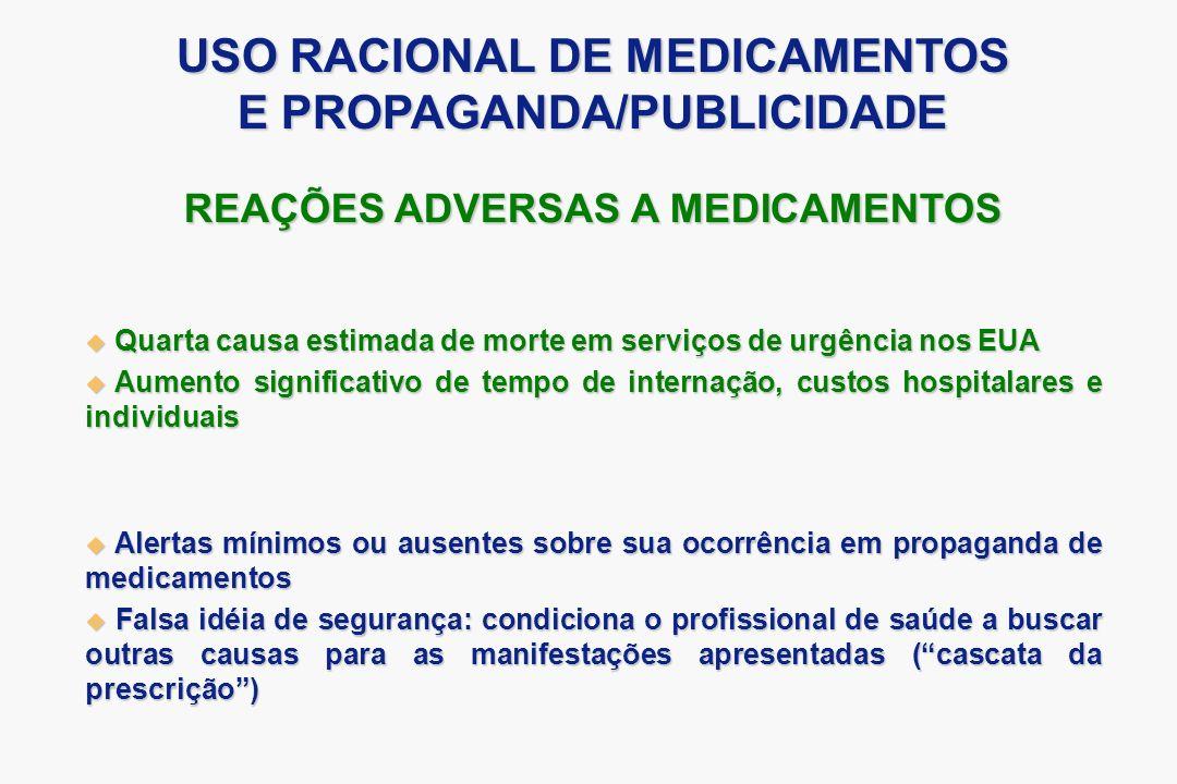REAÇÕES ADVERSAS A MEDICAMENTOS Quarta causa estimada de morte em serviços de urgência nos EUA Quarta causa estimada de morte em serviços de urgência