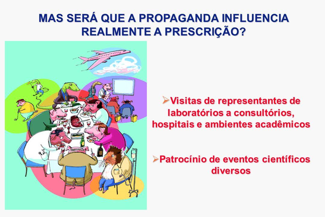 MAS SERÁ QUE A PROPAGANDA INFLUENCIA REALMENTE A PRESCRIÇÃO? Visitas de representantes de laboratórios a consultórios, hospitais e ambientes acadêmico