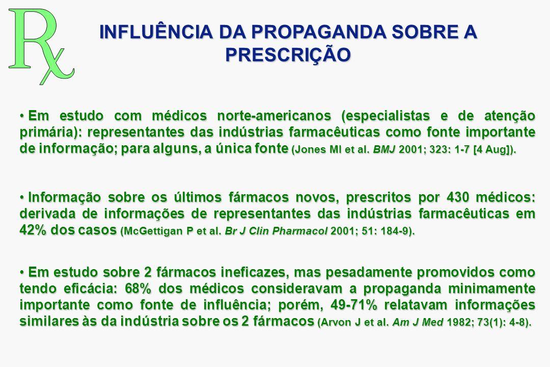 Em estudo com médicos norte-americanos (especialistas e de atenção primária): representantes das indústrias farmacêuticas como fonte importante de inf