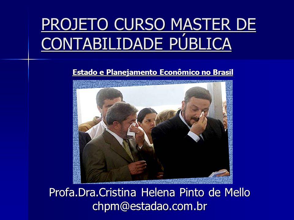 PROJETO CURSO MASTER DE CONTABILIDADE PÚBLICA Profa.Dra.Cristina Helena Pinto de Mello chpm@estadao.com.br Estado e Planejamento Econômico no Brasil