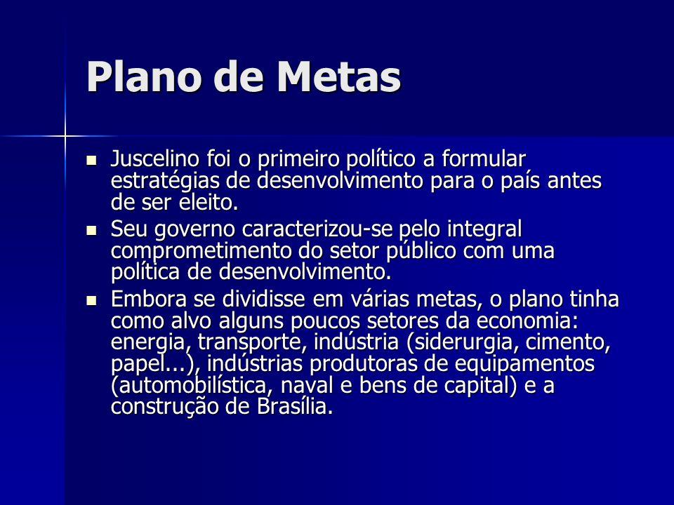 Plano de Metas Juscelino foi o primeiro político a formular estratégias de desenvolvimento para o país antes de ser eleito. Juscelino foi o primeiro p