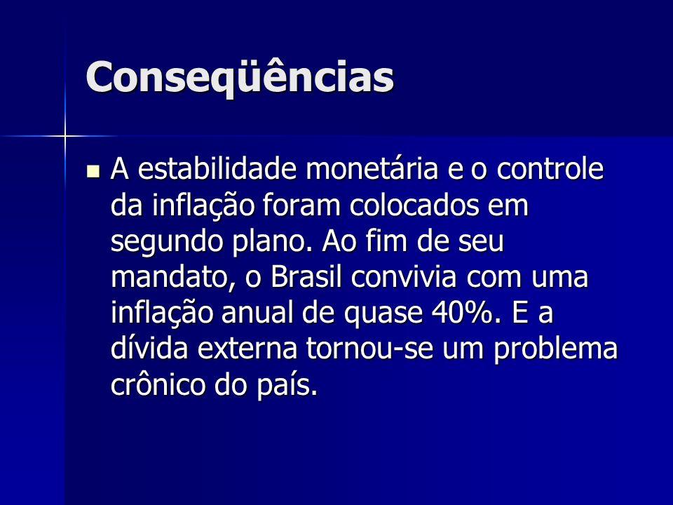 Conseqüências A estabilidade monetária e o controle da inflação foram colocados em segundo plano. Ao fim de seu mandato, o Brasil convivia com uma inf