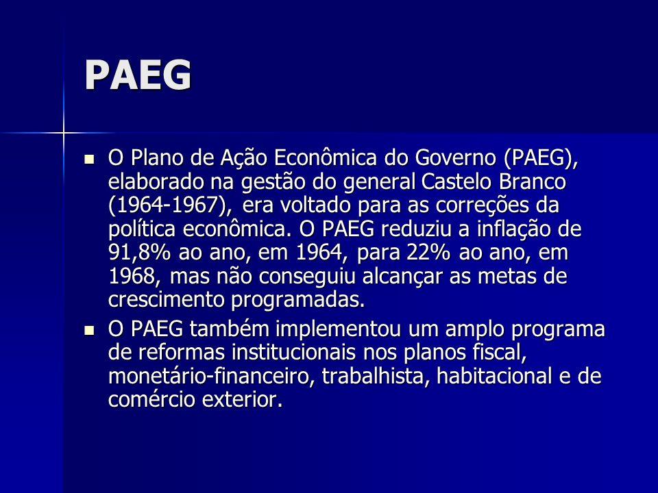 PAEG O Plano de Ação Econômica do Governo (PAEG), elaborado na gestão do general Castelo Branco (1964-1967), era voltado para as correções da política