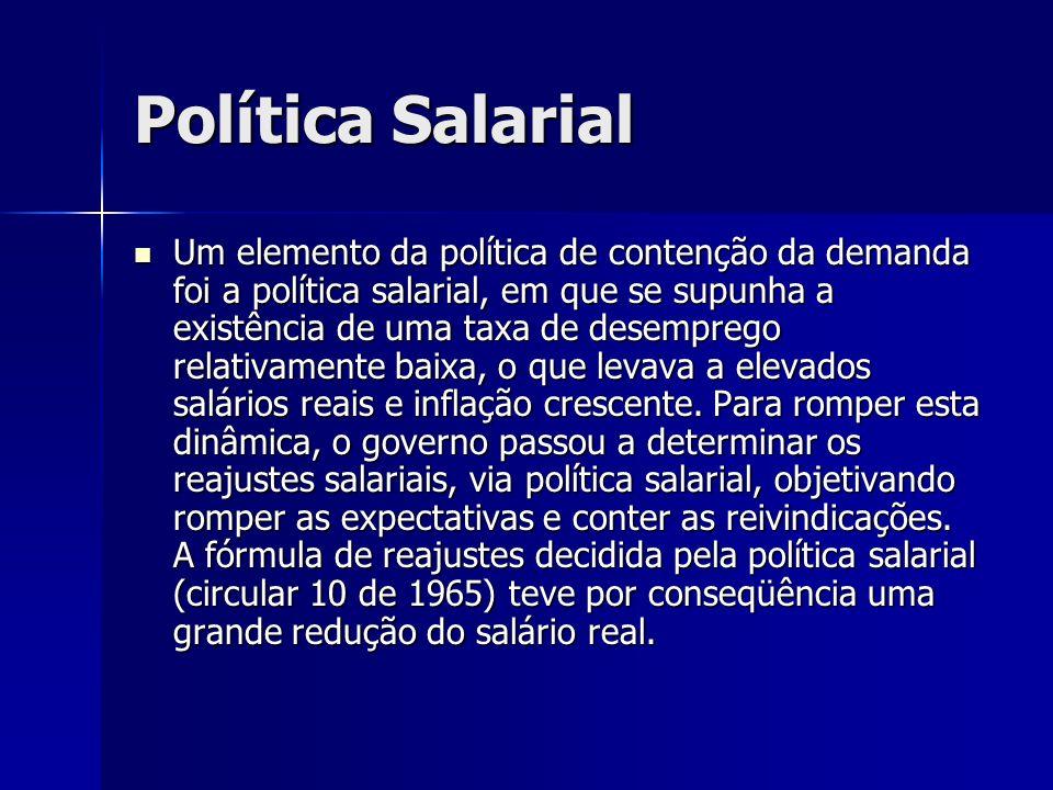 Política Salarial Um elemento da política de contenção da demanda foi a política salarial, em que se supunha a existência de uma taxa de desemprego re