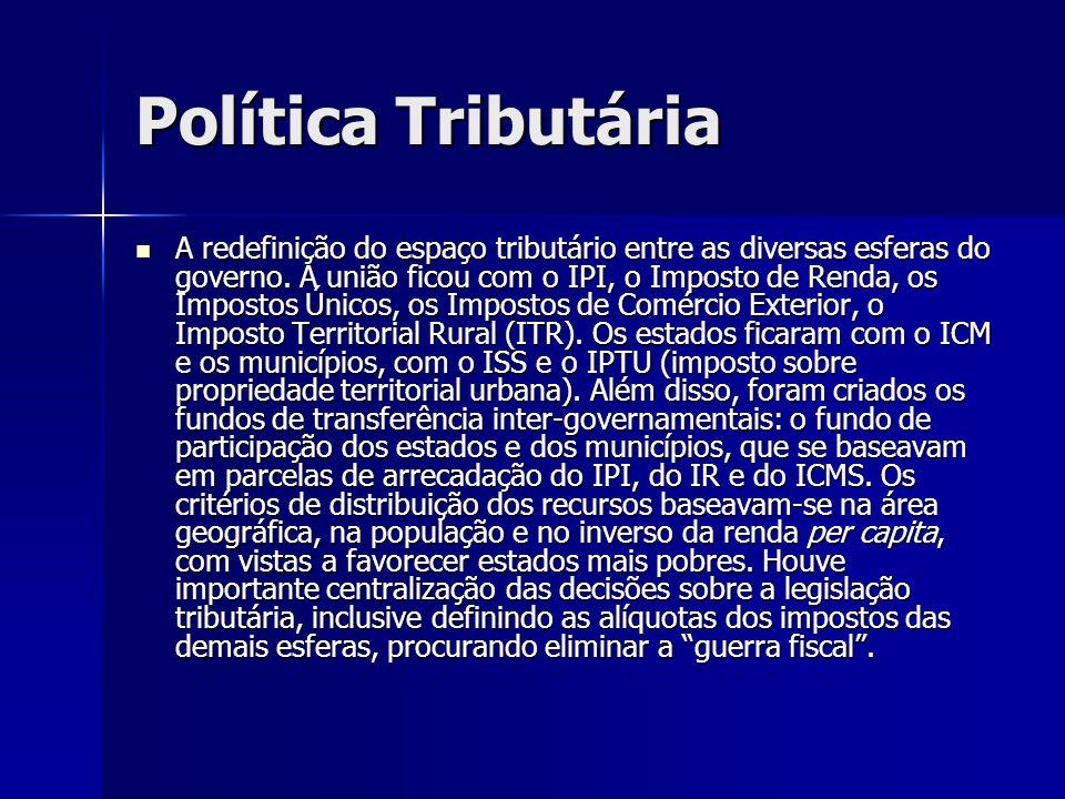 Política Tributária A redefinição do espaço tributário entre as diversas esferas do governo. A união ficou com o IPI, o Imposto de Renda, os Impostos