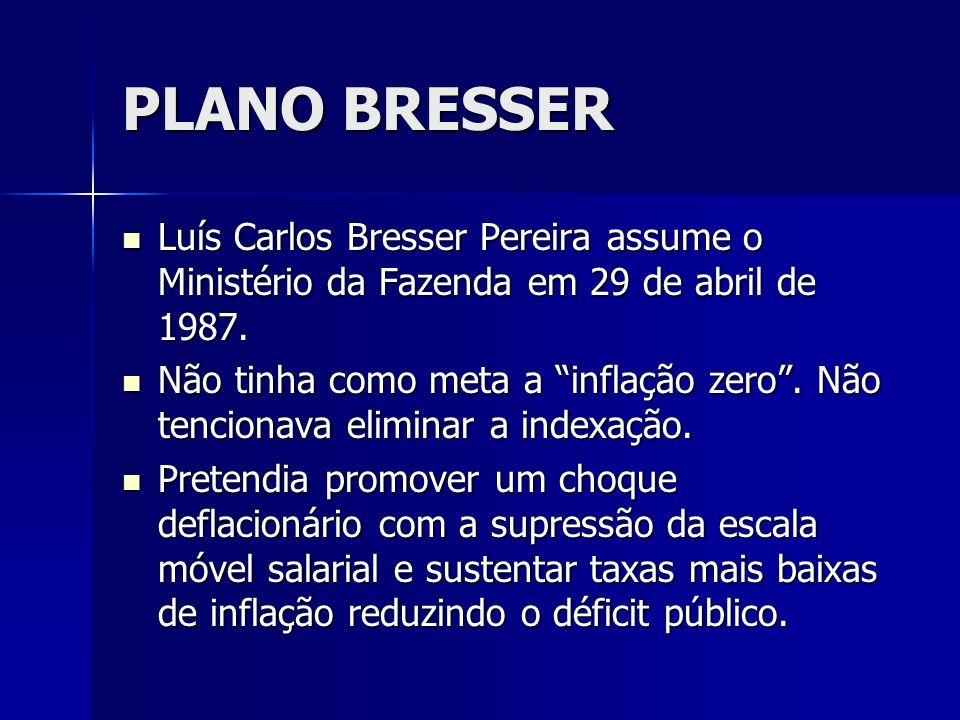 PLANO BRESSER Luís Carlos Bresser Pereira assume o Ministério da Fazenda em 29 de abril de 1987. Luís Carlos Bresser Pereira assume o Ministério da Fa