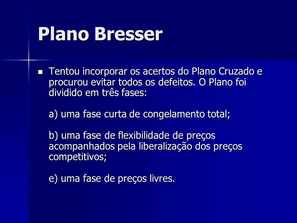 Plano Bresser Tentou incorporar os acertos do Plano Cruzado e procurou evitar todos os defeitos. O Plano foi dividido em três fases: a) uma fase curta