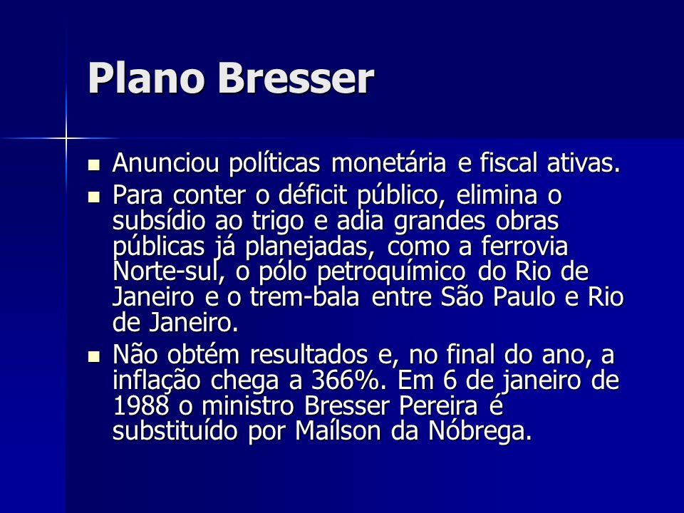 Plano Bresser Anunciou políticas monetária e fiscal ativas. Anunciou políticas monetária e fiscal ativas. Para conter o déficit público, elimina o sub