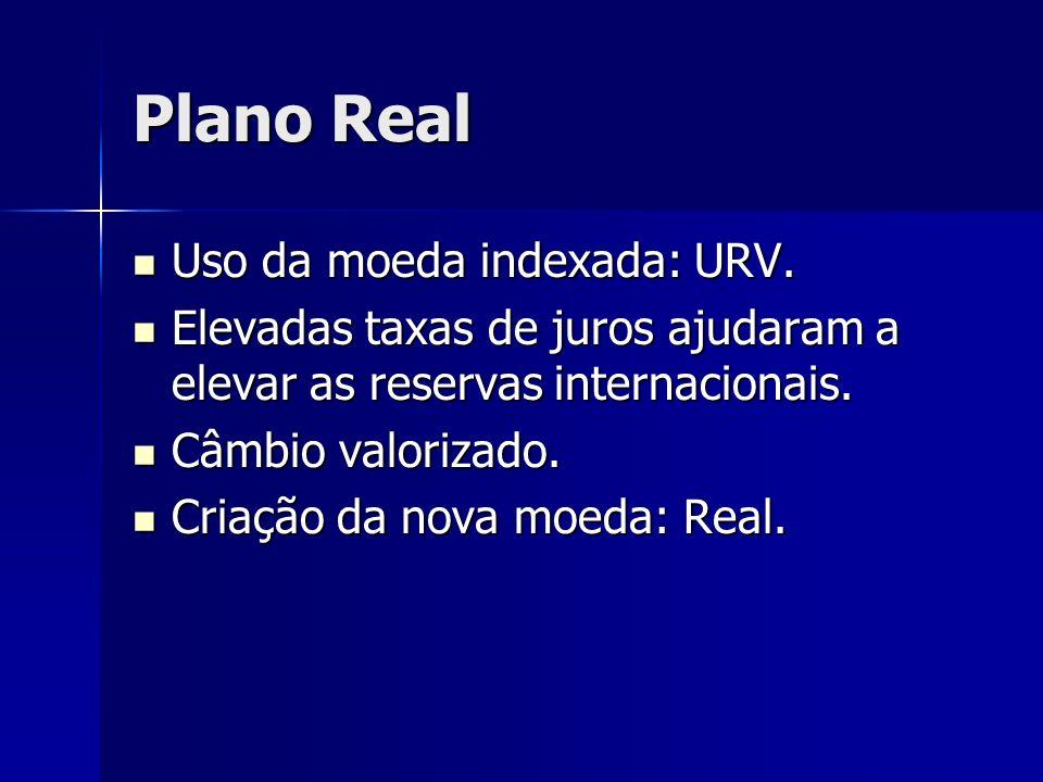 Plano Real Uso da moeda indexada: URV. Uso da moeda indexada: URV. Elevadas taxas de juros ajudaram a elevar as reservas internacionais. Elevadas taxa