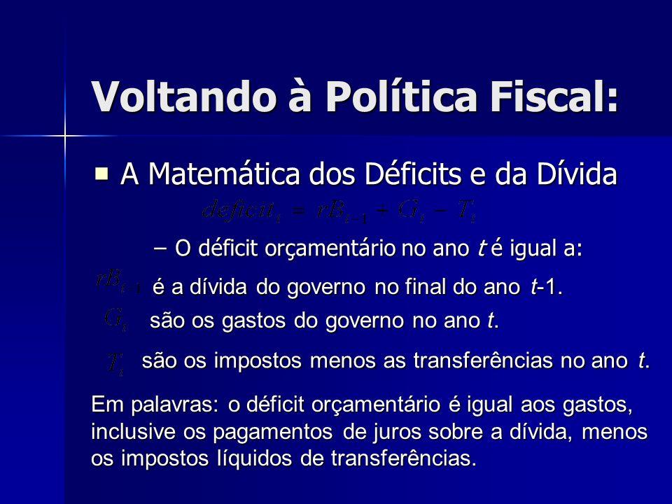 Voltando à Política Fiscal: A Matemática dos Déficits e da Dívida –O déficit orçamentário no ano t é igual a: é a dívida do governo no final do anot-1
