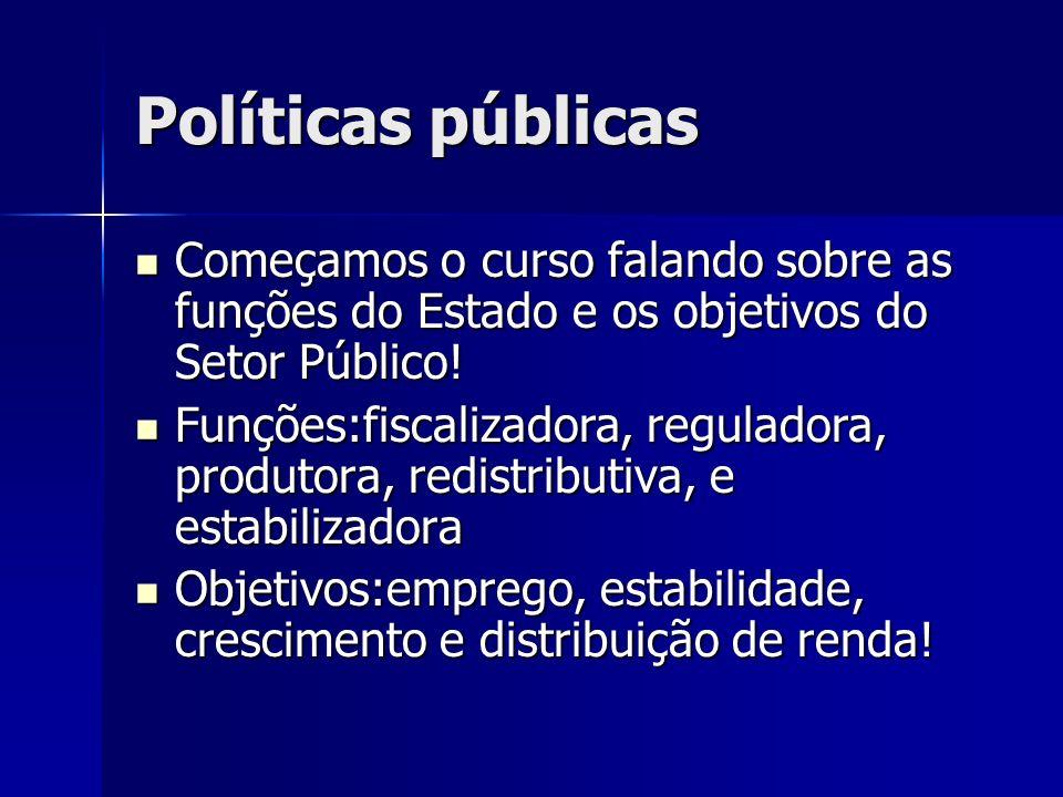 Políticas públicas Começamos o curso falando sobre as funções do Estado e os objetivos do Setor Público! Começamos o curso falando sobre as funções do