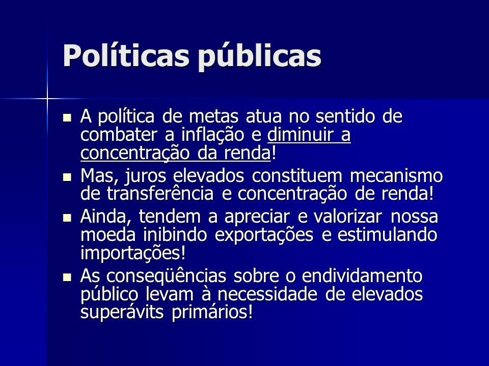 Políticas públicas A política de metas atua no sentido de combater a inflação e diminuir a concentração da renda! A política de metas atua no sentido