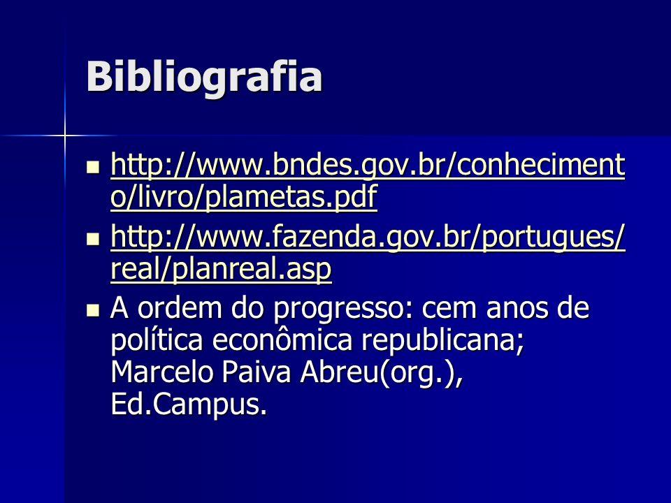Bibliografia http://www.bndes.gov.br/conheciment o/livro/plametas.pdf http://www.bndes.gov.br/conheciment o/livro/plametas.pdf http://www.bndes.gov.br
