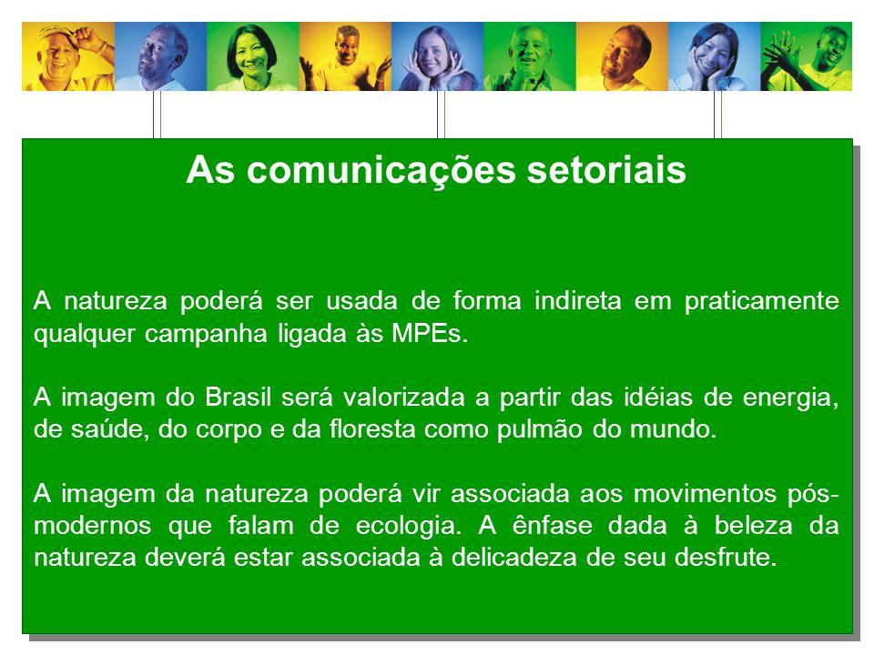 As comunicações setoriais A natureza poderá ser usada de forma indireta em praticamente qualquer campanha ligada às MPEs. A imagem do Brasil será valo